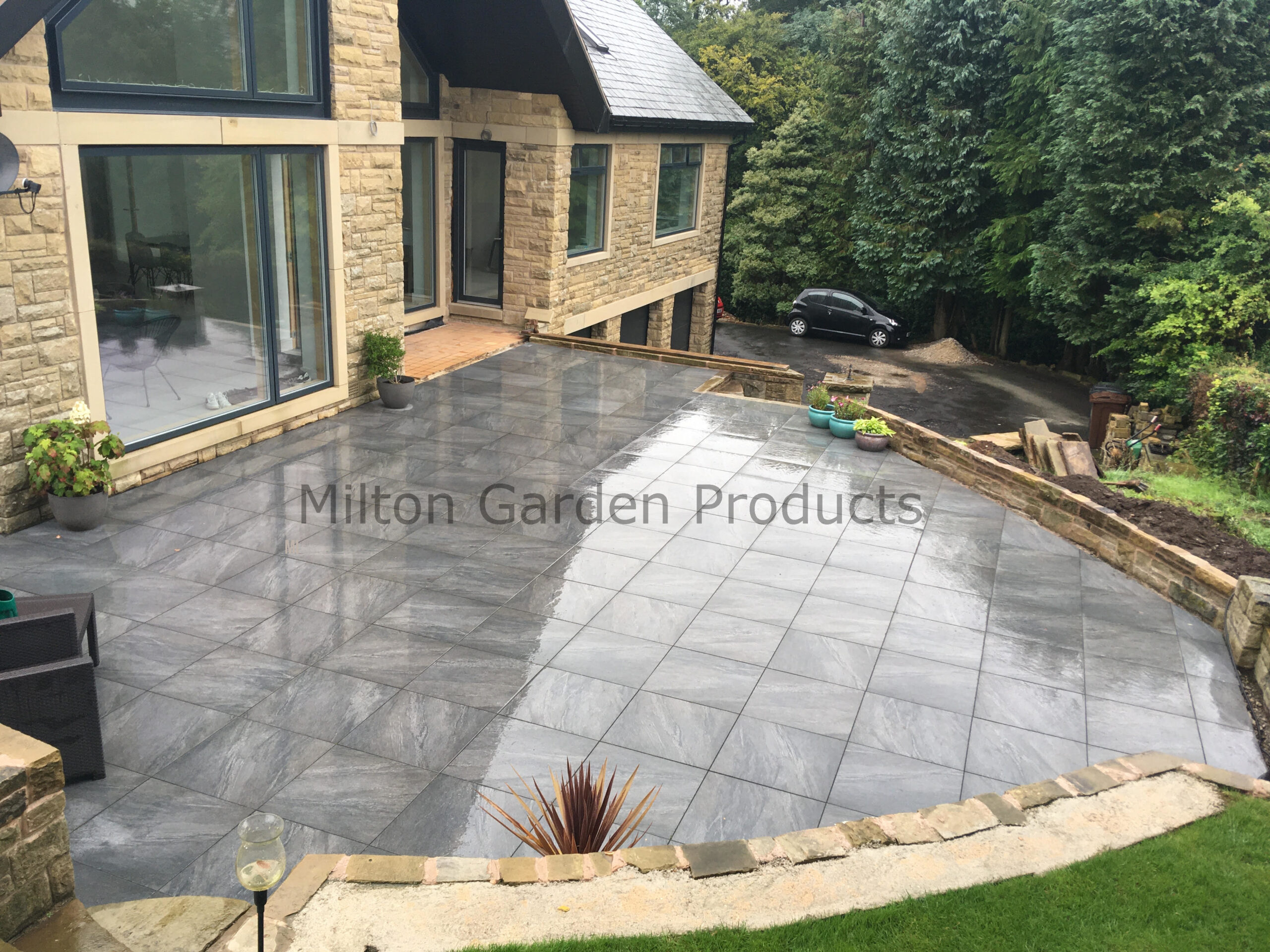 Anthracite Black Vitrified Porcelain Paving 20mm 600 x 600 - 22.30m² Pack -  Landscaping Stoke-on-Trent | 1st Class Supplier of Garden Products